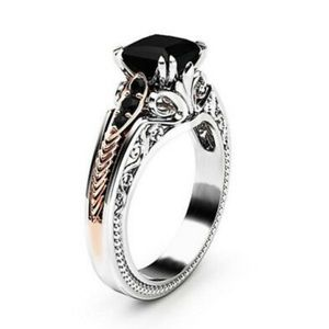 NEW 925 Sterling Silver Two tone Black stone ring